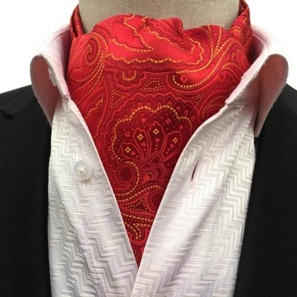 Accessories Mens Red Yellow Paisley Ascot Tie Cravat Poshmark